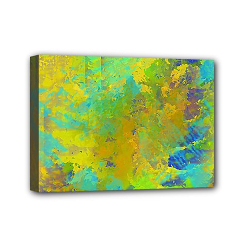 Abstract In Blue, Green, Copper, And Gold Mini Canvas 7  X 5