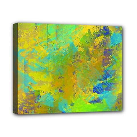 Abstract In Blue, Green, Copper, And Gold Canvas 10  X 8