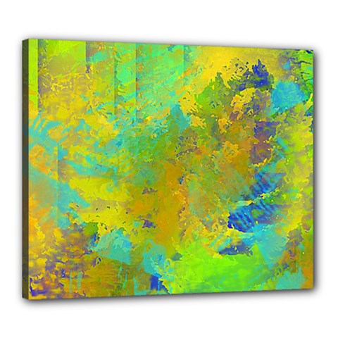Abstract In Blue, Green, Copper, And Gold Canvas 24  X 20