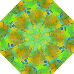 Abstract in Blue, Green, Copper, and Gold Folding Umbrellas