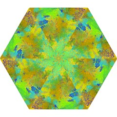 Abstract in Blue, Green, Copper, and Gold Mini Folding Umbrellas