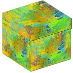 Abstract In Blue, Green, Copper, And Gold Storage Stool 12