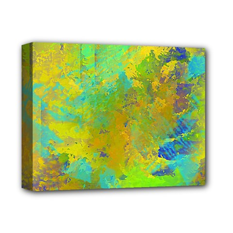 Abstract In Blue, Green, Copper, And Gold Deluxe Canvas 14  X 11