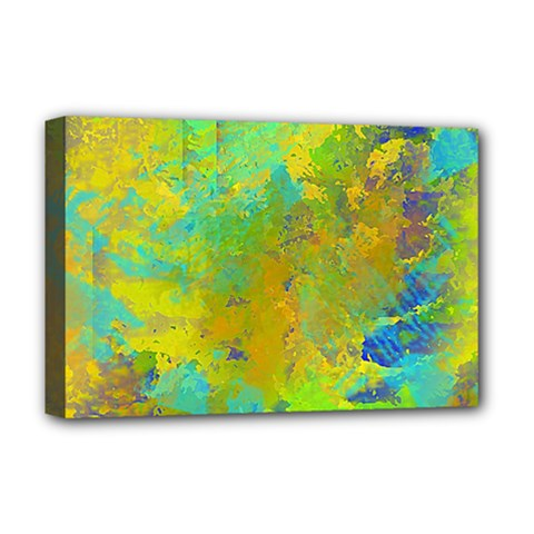Abstract In Blue, Green, Copper, And Gold Deluxe Canvas 18  X 12