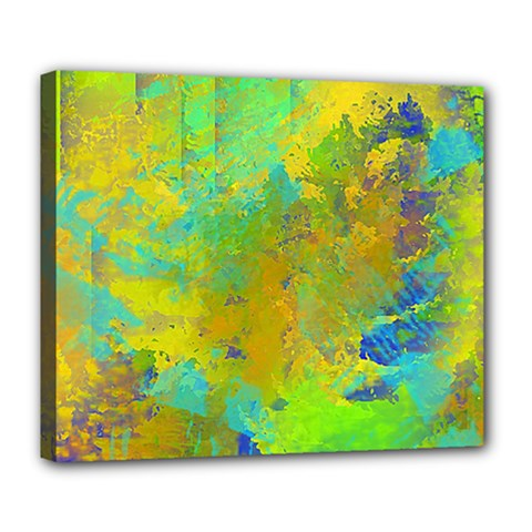 Abstract In Blue, Green, Copper, And Gold Deluxe Canvas 24  X 20