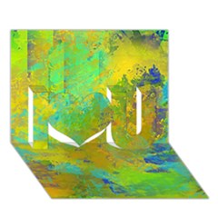 Abstract in Blue, Green, Copper, and Gold I Love You 3D Greeting Card (7x5)