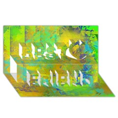 Abstract in Blue, Green, Copper, and Gold Best Friends 3D Greeting Card (8x4)