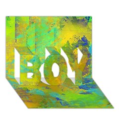 Abstract in Blue, Green, Copper, and Gold BOY 3D Greeting Card (7x5)