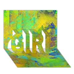 Abstract In Blue, Green, Copper, And Gold Girl 3d Greeting Card (7x5)