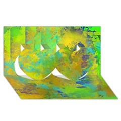 Abstract in Blue, Green, Copper, and Gold Twin Hearts 3D Greeting Card (8x4)