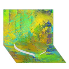 Abstract In Blue, Green, Copper, And Gold Heart Bottom 3d Greeting Card (7x5)