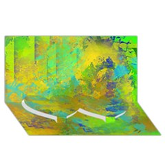 Abstract in Blue, Green, Copper, and Gold Twin Heart Bottom 3D Greeting Card (8x4)