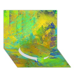 Abstract In Blue, Green, Copper, And Gold Circle Bottom 3d Greeting Card (7x5)
