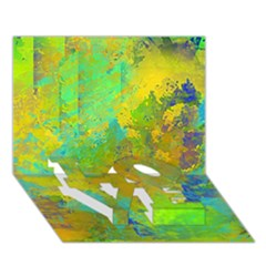 Abstract In Blue, Green, Copper, And Gold Love Bottom 3d Greeting Card (7x5)