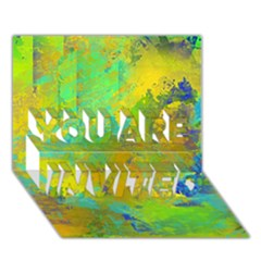 Abstract in Blue, Green, Copper, and Gold YOU ARE INVITED 3D Greeting Card (7x5)