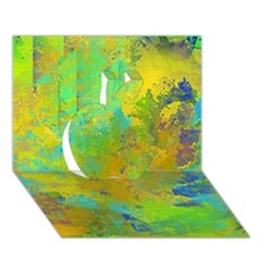 Abstract in Blue, Green, Copper, and Gold Apple 3D Greeting Card (7x5)