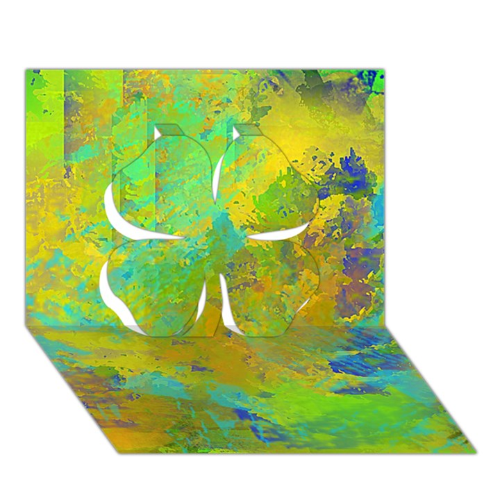 Abstract in Blue, Green, Copper, and Gold Clover 3D Greeting Card (7x5)