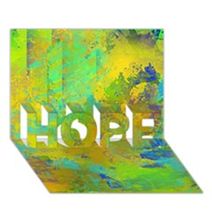 Abstract In Blue, Green, Copper, And Gold Hope 3d Greeting Card (7x5)