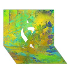 Abstract in Blue, Green, Copper, and Gold Ribbon 3D Greeting Card (7x5)