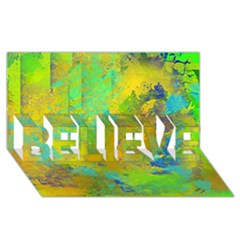 Abstract in Blue, Green, Copper, and Gold BELIEVE 3D Greeting Card (8x4)