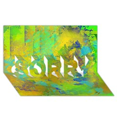 Abstract In Blue, Green, Copper, And Gold Sorry 3d Greeting Card (8x4)