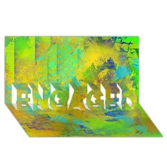 Abstract in Blue, Green, Copper, and Gold ENGAGED 3D Greeting Card (8x4)