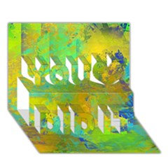 Abstract In Blue, Green, Copper, And Gold You Did It 3d Greeting Card (7x5)