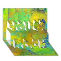 Abstract in Blue, Green, Copper, and Gold You Rock 3D Greeting Card (7x5)