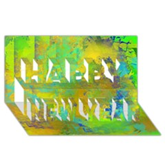 Abstract in Blue, Green, Copper, and Gold Happy New Year 3D Greeting Card (8x4)