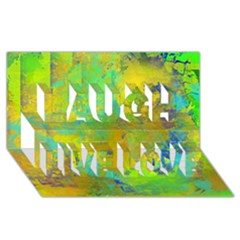 Abstract in Blue, Green, Copper, and Gold Laugh Live Love 3D Greeting Card (8x4)