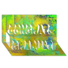 Abstract In Blue, Green, Copper, And Gold Congrats Graduate 3d Greeting Card (8x4)