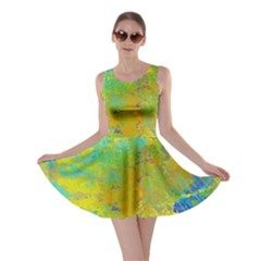 Abstract in Blue, Green, Copper, and Gold Skater Dresses