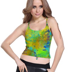 Abstract In Blue, Green, Copper, And Gold Spaghetti Strap Bra Tops