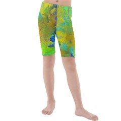 Abstract in Blue, Green, Copper, and Gold Kid s swimwear