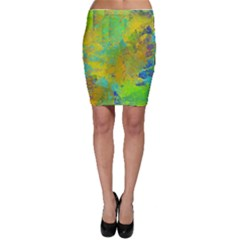 Abstract in Blue, Green, Copper, and Gold Bodycon Skirts