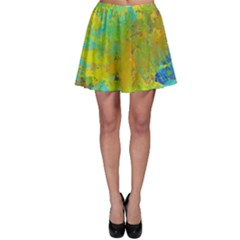Abstract in Blue, Green, Copper, and Gold Skater Skirts