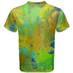 Abstract In Blue, Green, Copper, And Gold Men s Cotton Tees