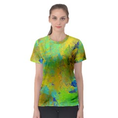 Abstract In Blue, Green, Copper, And Gold Women s Sport Mesh Tees