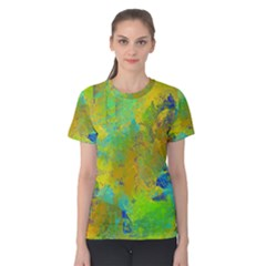 Abstract in Blue, Green, Copper, and Gold Women s Cotton Tees