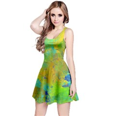 Abstract In Blue, Green, Copper, And Gold Reversible Sleeveless Dresses