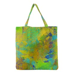 Abstract in Blue, Green, Copper, and Gold Grocery Tote Bags