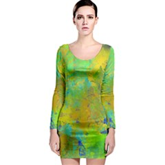Abstract in Blue, Green, Copper, and Gold Long Sleeve Bodycon Dresses
