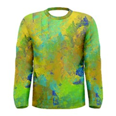 Abstract in Blue, Green, Copper, and Gold Men s Long Sleeve T-shirts