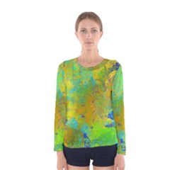 Abstract in Blue, Green, Copper, and Gold Women s Long Sleeve T-shirts