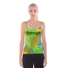 Abstract In Blue, Green, Copper, And Gold Spaghetti Strap Tops