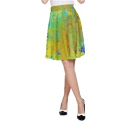 Abstract in Blue, Green, Copper, and Gold A-Line Skirts