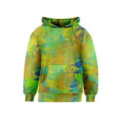 Abstract in Blue, Green, Copper, and Gold Kid s Pullover Hoodies