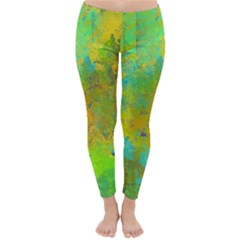 Abstract in Blue, Green, Copper, and Gold Winter Leggings