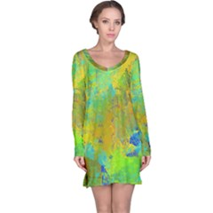 Abstract in Blue, Green, Copper, and Gold Long Sleeve Nightdresses