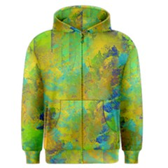 Abstract in Blue, Green, Copper, and Gold Men s Zipper Hoodies